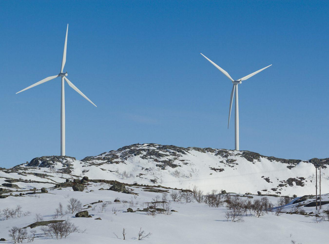 Vindmøller på Nygårdsfjellet i Nordland. Foto: